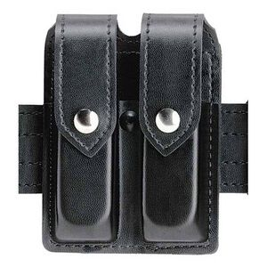 """Safariland Model 77 Double Handgun Magazine Pouch Group 9 2.25"""" Duty Belt Chrome Snap Vertical Carry Plain Black 76-83-2"""