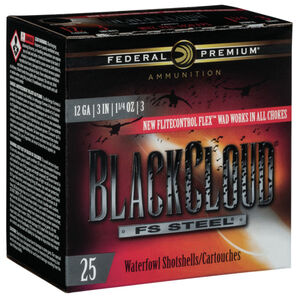 "Federal 12 Gauge Ammunition 250 Rounds 3.00"" #3 Steel Shot Flitecontrol Flex Wad 1.25 oz."