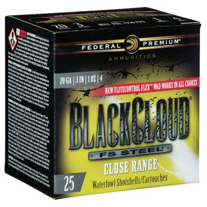 """Federal Black Cloud FS Steel Close Range 20 Gauge Ammunition 3"""" #4 1 Oz Steel Shot 1350 fps"""