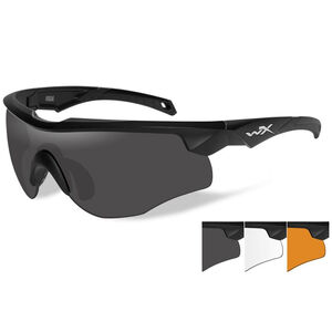 Wiley X Rogue Ballistic Sunglasses/Shooting Glasses Matte Black Frame Grey/Clear/Rust Lens