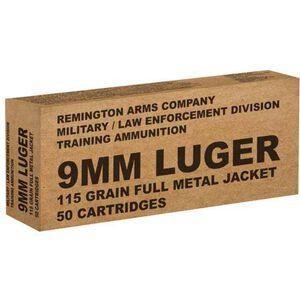 Remington Mil/LE Overrun 9mm Luger Ammunition 50 Rounds 115 Grain FMJ 1145fps