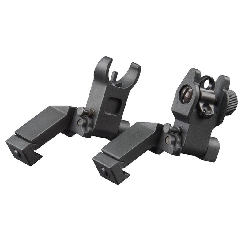 AIM Sports AR Low Profile 45 Degree Flip Up Sight Set Aluminum Black MT45FS