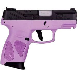 "Taurus G2S Slim 9mm Luger Semi Auto Pistol 3.2"" Barrel 7 Rounds Single Action with Restrike 3 Dot Sights Thumb Safety Light Purple Polymer Frame Black Finish"