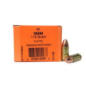 HSM 9mm Luger 115gr FMJ 1180 fps Brass Case 50 Rounds