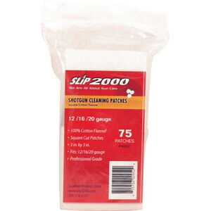 "Slip 2000 Gun Cleaning Patches 12/16/20 Gauge Shotgun 3"" Square Cotton Flannel 75 Count"