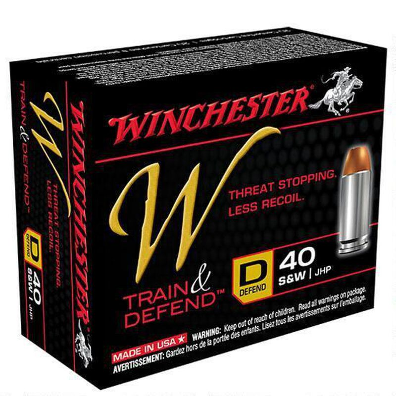 Winchester Train and Defend .40 S&W Ammunition 200 Rounds, JHP, 180 Grains