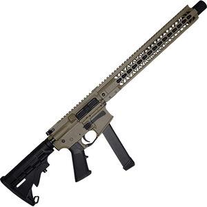 "Brigade Manufacturing BM-9 9mm Luger AR-15 Semi Auto Rifle 16"" Barrel 33 Rounds UNI-Rail Handguard Collapsible Stock FDE Finish"