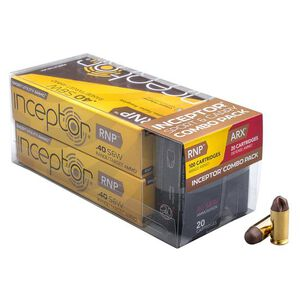 Inceptor Sport/Carry Combo Pack .40 Smith & Wesson Ammunition 120 Total Rounds 97 Grain RNP/88 Grain ARX Lead Free Injection Molded Copper-Polymer Projectile