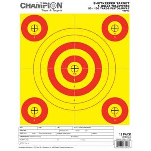 Champion ShotKeeper 5 Bull 50 to 100 Yards Rifle/Pistol Target Small Yellow/Red 12 Pack 45562