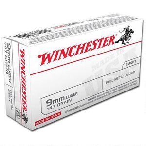 Winchester USA 9mm Luger Ammunition FMJ 147 Grains  990 fps