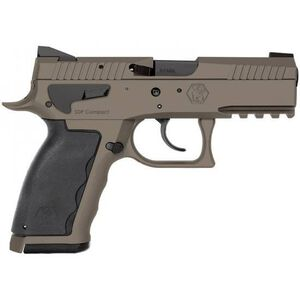 "KRISS USA SPHINX SDP Compact Semi Auto Pistol 9mm Luger 3.7"" Barrel 15 Rounds White Dot/U-Notch Sights Interchangeable Rubber Grips Aluminum Frame Cerakote Sand Finish"