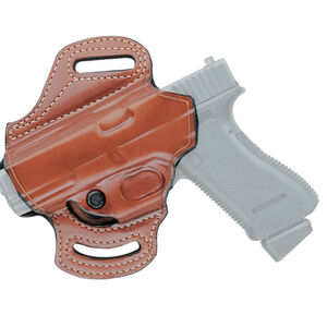 Aker Leather 168A FlatSider Slide XR13 GLOCK 19/23 Strapless Open Top Belt Slide Holster Left Hand Leather Plain Tan
