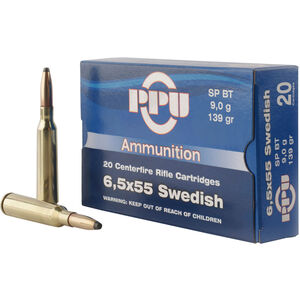 Prvi Partizan PPU Metric 6.5x55 Swedish Ammunition 20 Rounds 139 Grain SP BT 2540fps