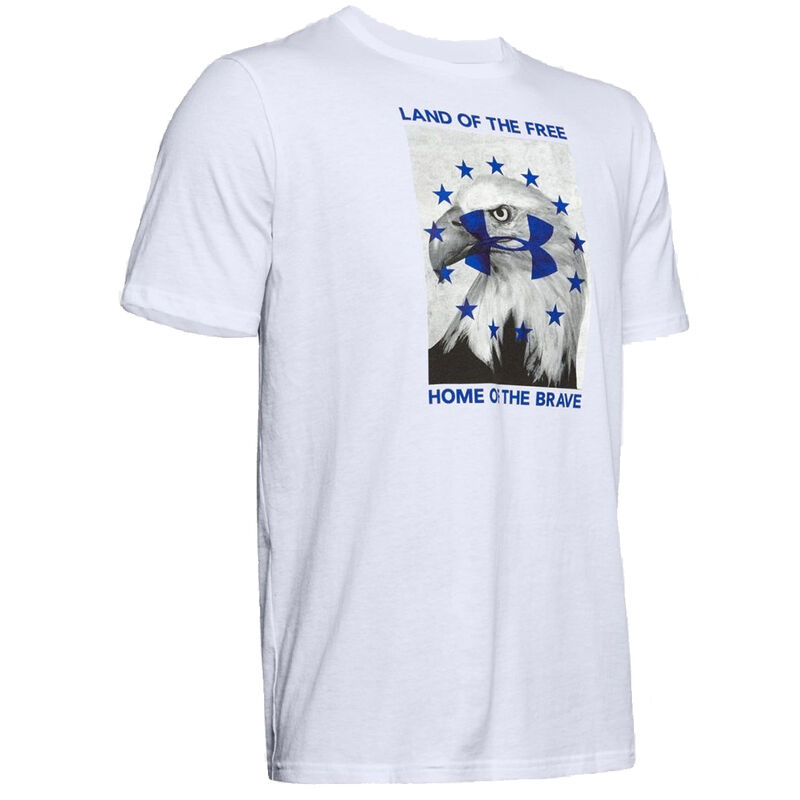 Under Armour Men's Freedom Illustrated Verb T-Shirt Med Cotton Blend White