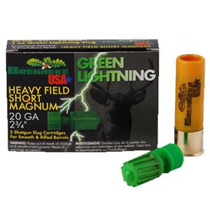 Brenneke 20 Gauge Green Lightning 2-3/4 Slug 1 Oz 5 Rounds