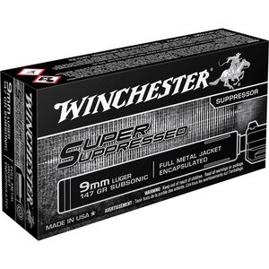 Winchester 9mm Luger Ammunition 50 Rounds Super Suppressed FMJE 147 Grains