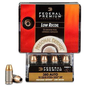 Federal .380 ACP 90gr HydraShok JHP Low Recoil 20 Rounds