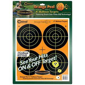"""Caldwell Orange Peel Targets 4"""" Bullseye Target Package of 10 Sheets 40 Targets"""