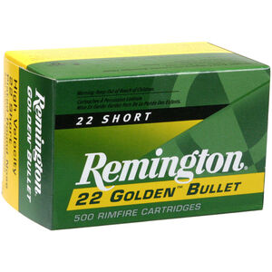 Remington Golden Bullet .22 Short Ammunition 50 Rounds Plated LRN 29 Grains 21000