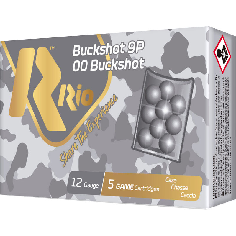 "RIO Ammunition Royal Buck 12 Gauge Ammunition 5 Rounds 2-3/4"" Shell 00 Buckshot 9 Lead Pellets 1345fps"