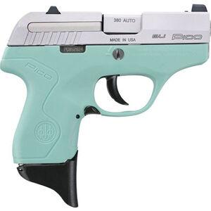 "Beretta Pico .380 ACP Semi Auto Pistol 2.7"" Barrel 6 Rounds XS Front Night Sight Two Tone Robin's Egg Blue Polymer Frame with Inox Slide Finish"