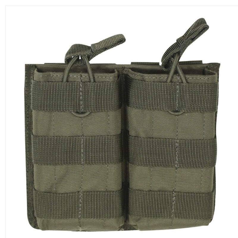 Voodoo Tactical AR-15/M4/M16 Open Top Double Magazine Pouch Bungee Retention System PALS Webbing Compatible Nylon OD Green