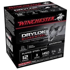"Winchester Drylok 12 Ga 3"" #3 Steel 1.25oz 25 Rounds"
