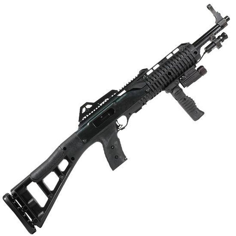 """Hi-Point Firearms Carbine Semi Auto Rifle 9mm Luger 16.5"""" Barrel 10 Rounds Polymer Stock Black Finish with Forward Grip Light and Laser 995TSFGFL-LAZ"""