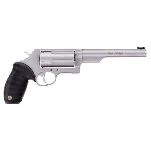 """Taurus Judge Magnum Double Action Revolver .45 Long Colt/.410 Bore 3"""" Chamber 6.5"""" Barrel 5 Round Fixed Red Fiber Optic Front Sight/Fixed Rear Sight Ribbed Rubber Grip Matte Stainless Steel Finish"""