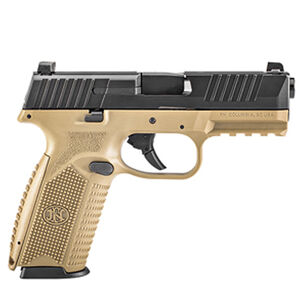 """FNH FN 509 Full Size 9mm Luger Semi Auto Pistol 4"""" Barrel 17 Rounds Fixed 3 Dot Sights Ambidextrous Controls Polymer Frame Black/FDE"""