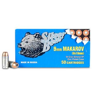 Silver Bear 9x18mm Makarov Ammunition 50 Rounds JHP 94 Grains A918RHPN