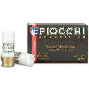"FIOCCHI 12 Gauge Ammunition 10 Rounds 2.75"" Low Recoil Nickel Plated Lead 00 Buckshot 9 Pellets"