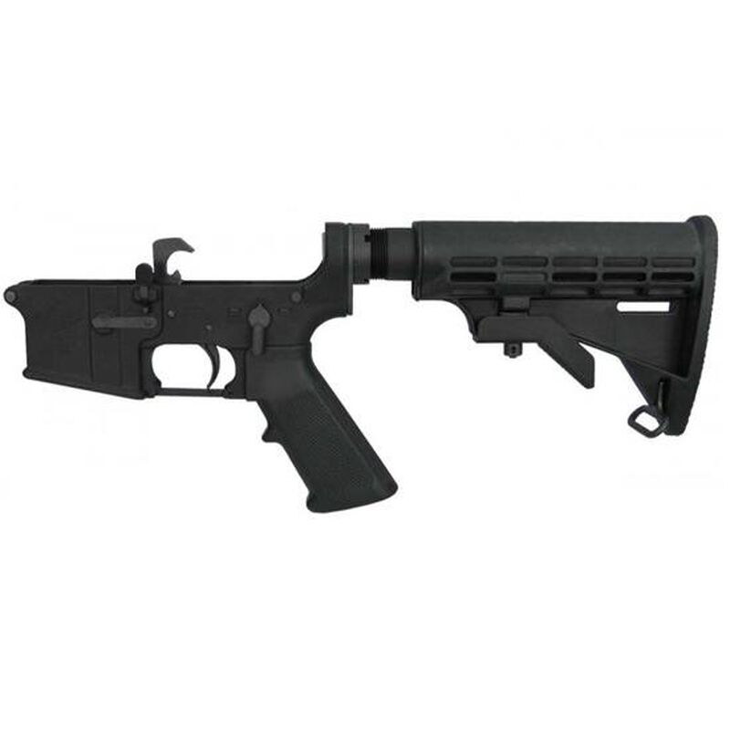 Yankee Hill Machine AR-15 Complete Lower Receiver with Commercial Extension and M4 Stock Aluminum Black YHM-128