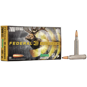 Federal Premium Sierra GameKing 7mm Remington Magnum Ammunition 20 Rounds 150 Grain Sierra GameKing Boat Tail Soft Point 3110fps