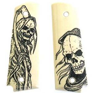 Hogue Scrimshaw Grip Panels 1911 Full Size Grim Reaper Polymer Ivory 45026