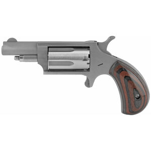 "North American Arms 22 WMR Single Action Mini-Revolver 5 Round 1-5/8"" Barrel Red and Green Laminated Wood Grips Stainless Steel"