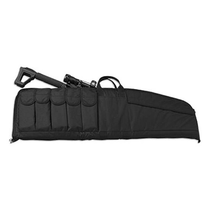 """Uncle Mike's Large Tactical Rifle Case 41"""" Black, 5 Mag Pouches"""