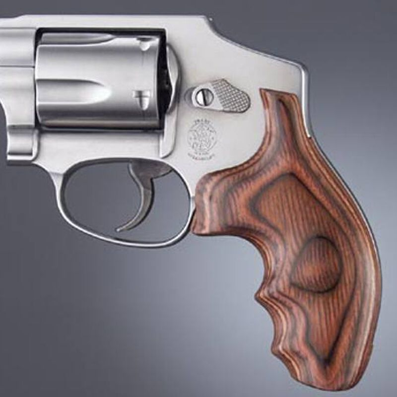 Hogue S&W J Frame Round Butt Fancy Wood Grips Rosewood Laminate 60500