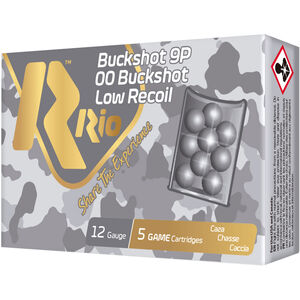 "RIO Ammunition Royal Buck Low Recoil 12 Gauge Ammunition 5 Rounds 2-3/4"" Shell 00 Buckshot 9 Lead Pellets 1200fps"