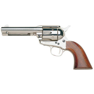 "Taylor's & Co Cattleman .45 LC Single Action Revolver 4.75"" Barrel 6 Rounds Walnut Grips Nickel Finish"