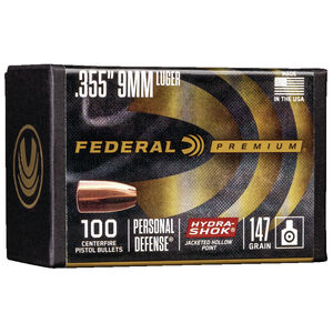 "Federal Hydra-Shok Bullets 9mm Caliber .355"" Diameter 147 Grain Hydra-Shok Jacketed Hollow Point Projectile 100 Count Per Box"
