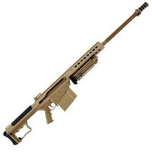 "Barrett M107A1 Semi Auto Rifle .50 BMG 29"" Fluted Barrel 10 Rounds Suppressor Ready Muzzle Brake 18"" Integrated Rail with 27 MOA Elevation FDE Cerakote Receiver"
