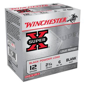 "Winchester Super-X 12 Gauge Blank Ammunition 2-3/4"" Black Powder Blank Load Loud Report"