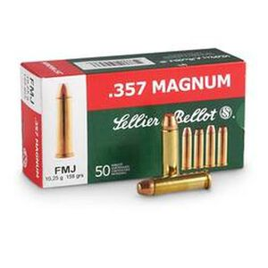 Sellier & Bellot .357 Magnum Ammunition 50 Rounds FMJ 158 Grains SB357A