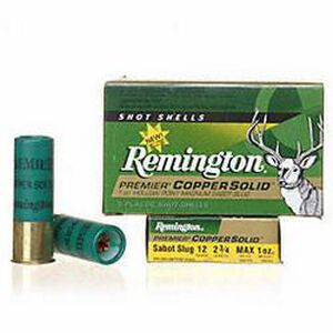 """Remington Premier Copper Solid Sabot Slugs 12 Gauge Ammunition 5 Rounds 2-3/4"""" 1oz Hollow Point Copper Slug 1450fps"""