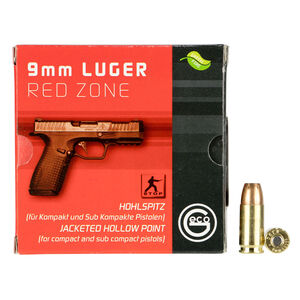 GECO Red Zone 9mm Luger Ammunition 20 Rounds 124 Grain Jacketed Hollow Point