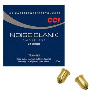 CCI Noise Blank .22 Short/Long/LR Ammunition 100 Rounds Crimped Brass Case Training/Starter Pistol/Reenactment