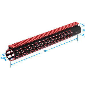 "Leapers UTG PRO Keymod AR-15 15"" Super Slim Rail Aluminum Black/Red MTU019SSKR2"