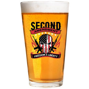 2 Monkey Trading Lucky Shot USA Second Amendment Freedom and Liberty  Label 16 oz Pint Glass