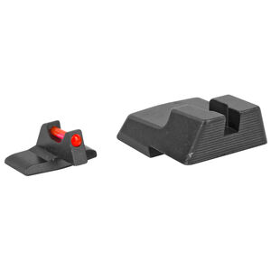 Trijicon Fiber Optic Sight Set Fits HK45C/HK 45C Tactical/P30/VP9 Red Fiber Front/Blacked Out Rear Steel Housing Matte Black Finish
